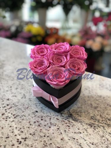 """Rosenbox """"Herzform"""" Pink/Schwarz"""
