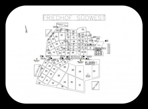 Standort - Südwest-Friedhof Tor 8 und bei Tor 6