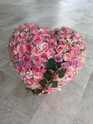 Herzschwamm Rosen rosa/Schleierkraut
