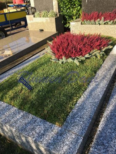 Grabpflege Rasengrab - Herzrabatte mit winterharte Erika