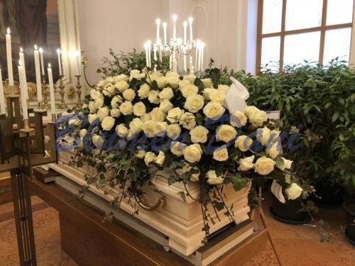 Sargdecke ca. 150 cm weiß Rosen